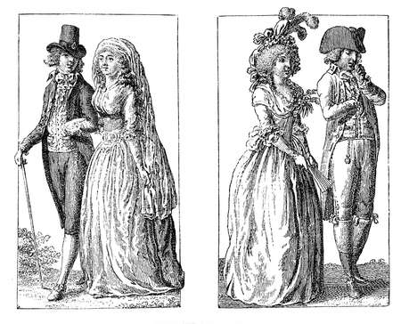 xviii: Men and ladies fashion in late XVIII century