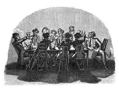 student life: 1820-1830 student life, together in tavern Stock Photo