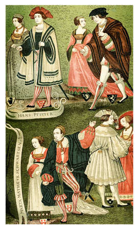 bourgeoisie: Drawing of Augsburg bourgeoisie in year 1520, lifestyle and fashion