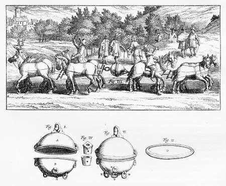 carried: Engraving  showing an experiment with an evacuated sphere being carried out at Magdeburg, Germany in 1654. In the demonstration 16 horses ( here only 8 represented) could not pull apart the two halves of an evacuated sphere, which became known as Magdebur Stock Photo