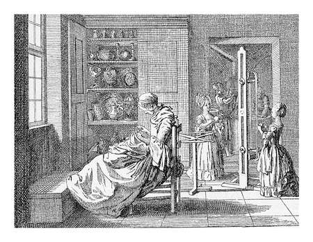 xviii: XVIII century, family life in Prussian upper class family: girls dressed as little woman help with domentic chores Stock Photo