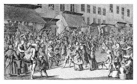 christmas market: View of Berlin in XVIII century  - people crowd the Christmas market  in Advent time Stock Photo