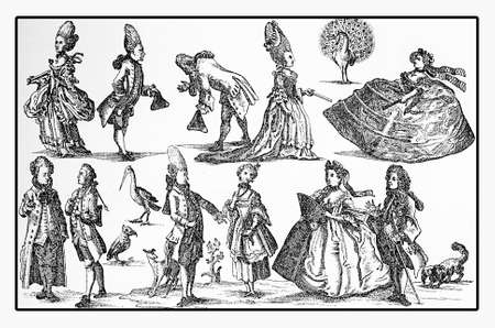 Fashion XVIII century caricature, resemblance with peacocks, storks and pets
