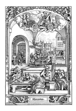 16th century: Woodcut by Hans Sebald Beham (1500-1550), from The successions of the weekdays: under the astrologic sign of Mercury a set of scenes of urban life in those days  (Wednesday). Although homicide was everything but unknown in those times, the man with the  Stock Photo