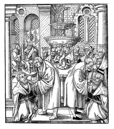 16th century: Woodcut Luther und Hus das Abendmahl erteilend, by Lukas Cranach (1472-1533). The Hus mentioned in the title is most likely Jan Hus, a Czech priest and reformer who died 68 jears before Luthers birth. Thus  the illustration is definitely to be seen as  Stock Photo