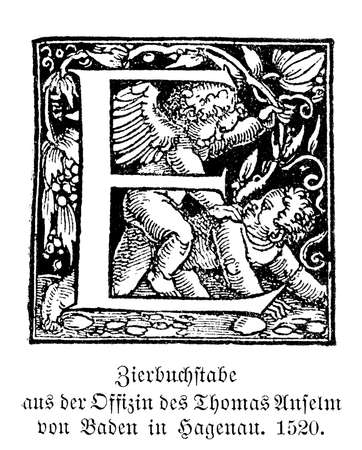 carved letters: Swash letter E. Swash were called the large decorated capital initials used in good typography at the beginning chapters until early XX century. From the typography workshop of Thomas Anselm von Baden in Hagenau, A.D. 1520.