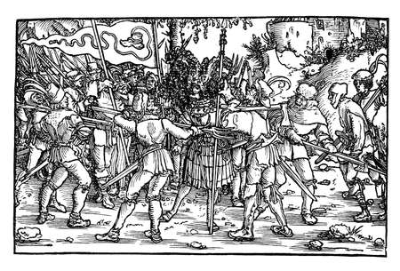 revolt: Scene of the German Peasants war depicting sedictionists with the boot-bearing banner symbolizing the rising and advance of the peasants, about to slay a captive knight. Stock Photo