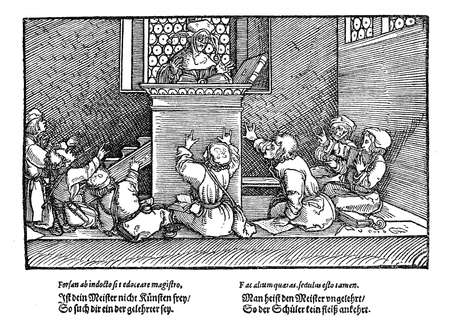 rather: As the illustration is from Schimpf und Ernst (Amusing and serious stories, by Johannes Pauli,1455-1533?), there is still hope that it is a caricature rather than a realistic depiction of schooling in XVI century...