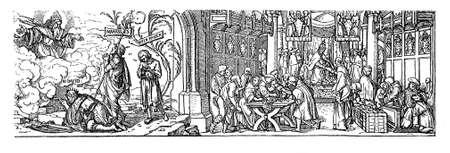 Woodcut by Hans Holbein (1497-1543), Die wahre und die falsche Vergebung der Suenden, against the catholic practice of indulgence.