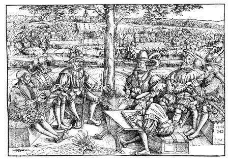 autonomia: siglo XVI, consejo en tiempos de guerra Schmalkaldik (1546-1547), el conflicto entre las fuerzas del emperador Carlos V y la Liga de Schmalkaldic Luterana. El ambiente buc�lico en la ilustraci�n no debe inducir a error: la guerra Schmalkaldik era un relativamente corto Foto de archivo