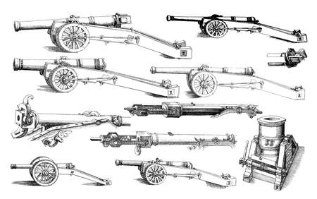 artillery: Artillery, different kind of guns in use in XVI century