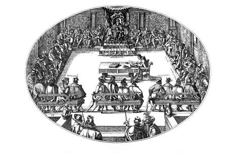 guess: XVI century, nobles convention with the Emperor. As a wild guess the Emperor might have been Ferdinand I, yet the Latin captions specify only where each Title belonged without explicitly mentioning the Title holders. Stock Photo