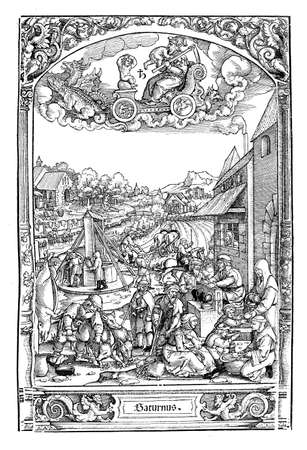 slaughtering: Woodcut by Hans Sebald Beham (1500-1550), from The successions of the weekdays: under the astrologic sign of Saturn a set of scenes of urban life in those days (Saturday). The butcher in the foreground slaughtering his pigs is perhaps the mildest scene