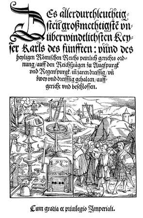 sanctioned: The peinlicher Gerichtsordnung (Constitutio Criminalis Carolina, 1530) was the first body of German criminal law, prescribing the procedure for judgment of capital crimes. It sanctioned, among the rest, death by fire for witchcraft and the use of tort