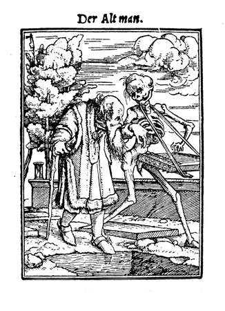 old man walking: XV century, Illustration by Hans L�tzelburger inspired to Hans Holbeins Totentanz (La danse macabre, a collection of 40 woodcuts): an old man walking hand in hand with Death, the friend who will free him from his pains.