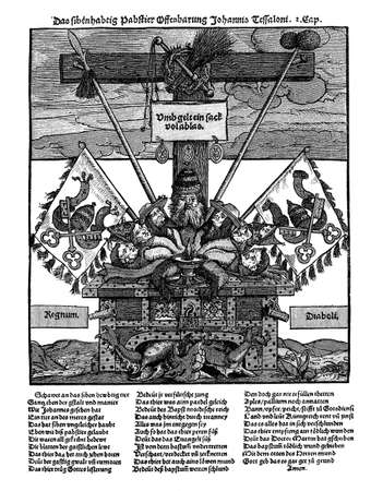 Woodcut flyer from the Protestant Reformation time (XV century) against the catholic practice of indulgence, as they were often distributed during the Reformation.