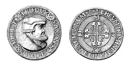 crux: XVI century, medal-like silver thaler of Friedrich the Wise of Saxony, bearing on the front the head of the Prince Elector, on the rear a decorated cross with the initials CCNS (Crux Christi Nostra Salus)