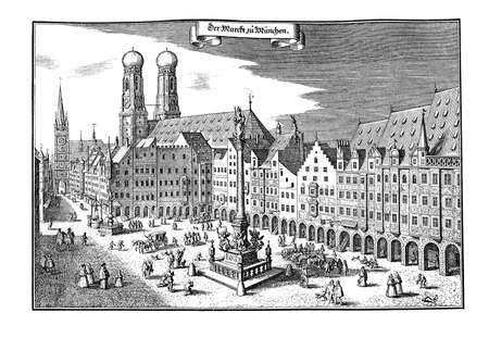 old times: Old times Munich Market Place, now Marienplatz. In the middle of the illustration the Mariensäule (Holy Marys column), erected in 1638 to commemorate the end of the Swedish occupation during the Thirty YearsWar. The look of the city has changed conside Stock Photo