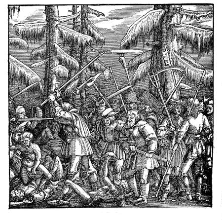 insurrection: Farmers and peasants fighting (apparently without great determination) against the Swabian League in the German Peasants was. Woodcut by Hans Lützelburger after a painting by Hans Holbein the Younger (1497-1543)