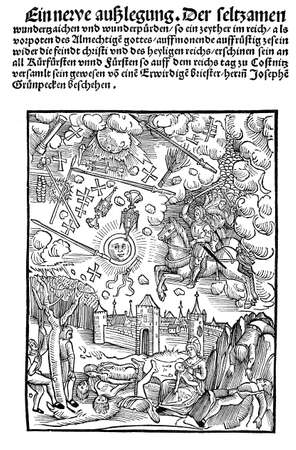 16th century: Woodcut for a cover illustration from 1507. The caption reads: Faksimile des Titels von Gruenbeck Eine neue ausslegung der seltsamen wunderzaichen... . The mentioned Gruenbeck is possibly a misspelling of Gruenpeck (Josef), a Bavarian humanist, phys Stock Photo