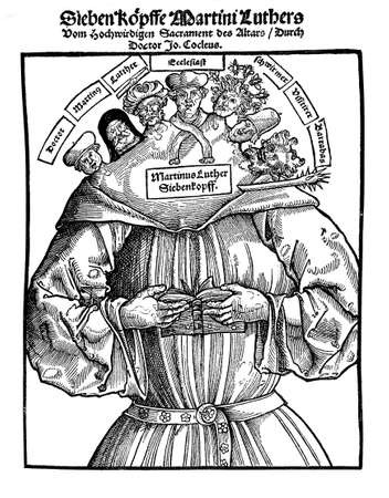 protestant: XVI century, the 7 heads of Martin Luther are captioned, left to right, Doctor, Martin, Luther, Ecclesiast, Vagabond, Pfister (Backer?), Barabbas .The satire purportedly hiding behind words thesis looks rather cryptic.