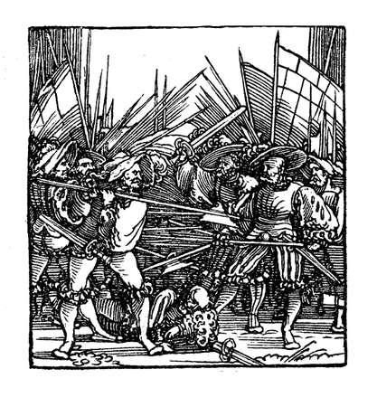 pauper: Fight in the German Peasants war, XVI century,pamphlet page. The page is titled Ein new Lied  wie es vor Rastat mit den Pauren ergangen ist Jm thon Es geet ein frischer summer daher