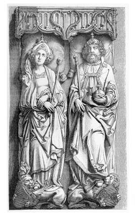 16th century: Bamberg cathedral, sepulchre of Emperor Heinrich the II and his consort Kunigunde, by Tilman Riemenschneider, sculpted in Solnhofer limestone. Completed in 1513. Stock Photo