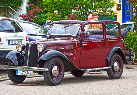 GARCHING, GERMANY, vintagecars at Garching traditional parade: automobiles to antique BMW 315 produced in years 1934-1937 Editorial