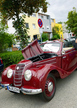 automobile door: GARCHING, GERMANY, vintagecars at Garching traditional parade: red shiny old IFA 2 door hatchback, produced in GDR in the years 1949 to 1956