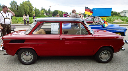 sixties: GARCHING, GERMANY, vintagecars at Garching traditional parade: Classic old NSU Prinz car produced in Germany in years 1958-1973.