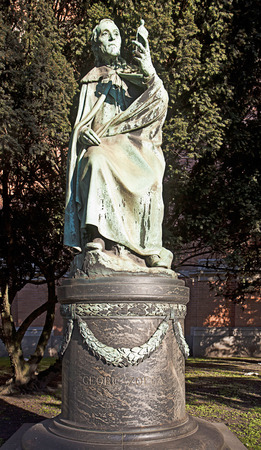 archaeologist: Copenhagen,  bronze sculpture of  Georg Zoega (1755-1809).  Danish consul at Rome, archaeologist and numismatist contributed to interpreting the Rosetta stone. Statue by Ludvig Brandstrup (1861-1935)