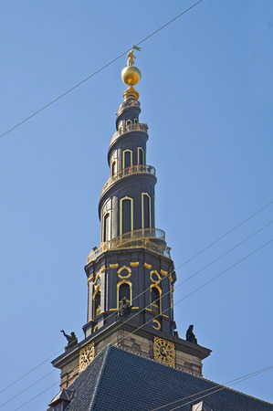 golden globe: Copenhagen, view of the Spire of the Church of Our Savior, the best panorama of the city after 400 steps.The baroque spire was inaugurated in 1752 : on the top the Christ statue on a golden globe dominates the city