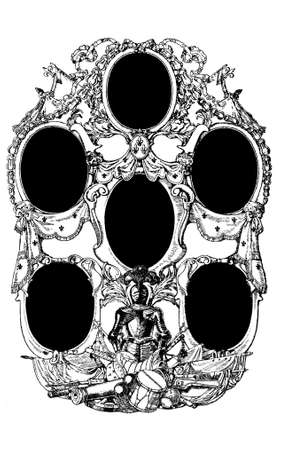 six gun: Baroque ornamental frame with 6 portraits and a triumph of armor and weaponry as decoration