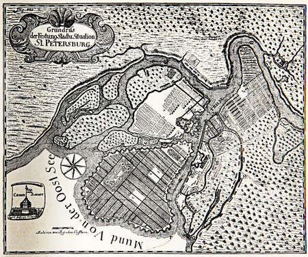 xviii: Vintage plan of St. Petersburg as a fortress at the mouth of the Neva River on the Baltic sea in 1738 Stock Photo