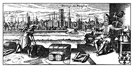 xviii: XVIII century, ancient view of Danzig the actual Gdansk, then Prussian German city on the Motklawa river, important seaport and shipbuilding town in XVI century. In foreground merchant and man on throne. Stock Photo