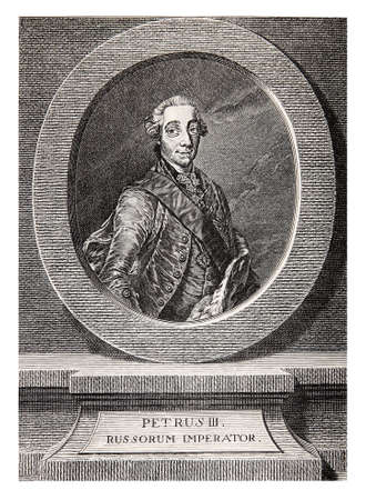 Vintage engraving portrait of Peter III Emperor of Russia for six months in 1762