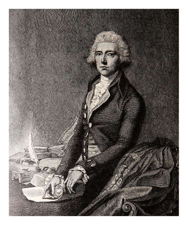 the prime minister: Engraving portrait of William Pitt the Younger Prime Minister of the United Kingdom from 1783 to 1801 and from 1804 to 1806 Stock Photo