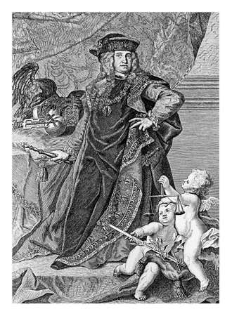 Engraving portrait of Charles VI, Holy Roman Emperor, King of Bohemia, Hungary,Croatia, Serbia und  Archduke of Austria, father of Maria Theresa Holy Roman Empress