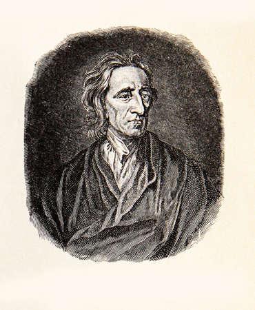 pensador: retrato grabado de John Locke influyente pensador de la Ilustración y el padre del liberalismo Foto de archivo