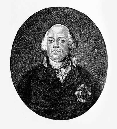 Engraving portrait of Frederick William II King of Prussia adversary of Enlightenment and supporter of traditional Protestantism