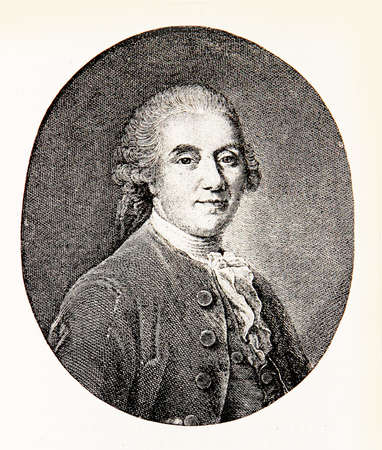 poems: Engraving portrait of Ludwig Gleim, German poet, known for noble political songs, his house  is one of the oldest literary museums in Germany