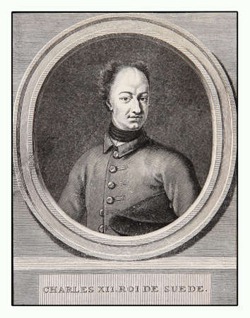 charles: Engraving portrait of Charles XII king of Sweden, military leader, able tactician and politician