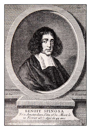 author: Engraving portrait of Baruch Spinoza, Dutch philosopher of XVII century, great rationalist and Enlightenment precursor,  author of Ethics