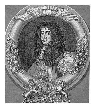 Engraving portrait of Charles II king of England, Scotland, and Ireland, restoring the monarchy after Cromwell interregnum in 1660