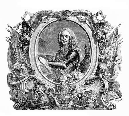 xviii: Engraving portrait of Philip V king of Spain, XVIII century Stock Photo