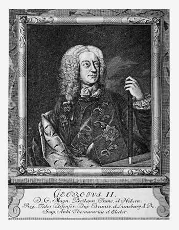 xviii: Engraving portrait of George II of Great Britain, King of England and Ireland and Prince-elector of the Holy Roman Empire, XVIII century