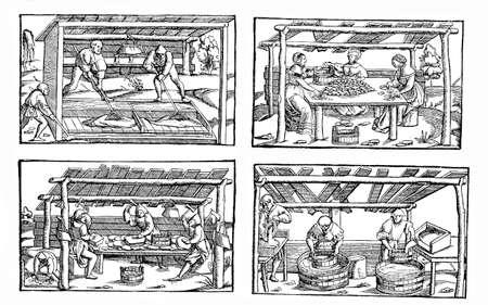 campesinas: economía medieval, campesino en el trabajo: la producción de materiales para la construcción