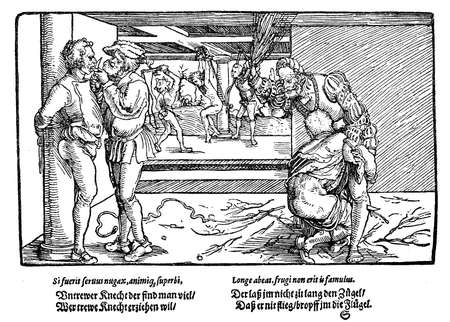 Middle ages engraving, punishment of servants