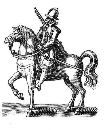 17th: Vintage engraving of 1616, thirty years warrior with helm, sword and archebus