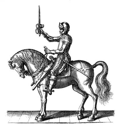 thirty: Vintage engraving of 1616, thirty years war knight with armor and sword Stock Photo